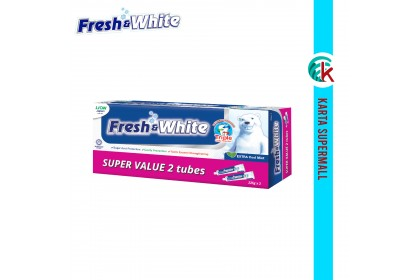 Fresh & White Toothpaste (Extra Cool Mint) Super Value Pack  225g x 2pcs